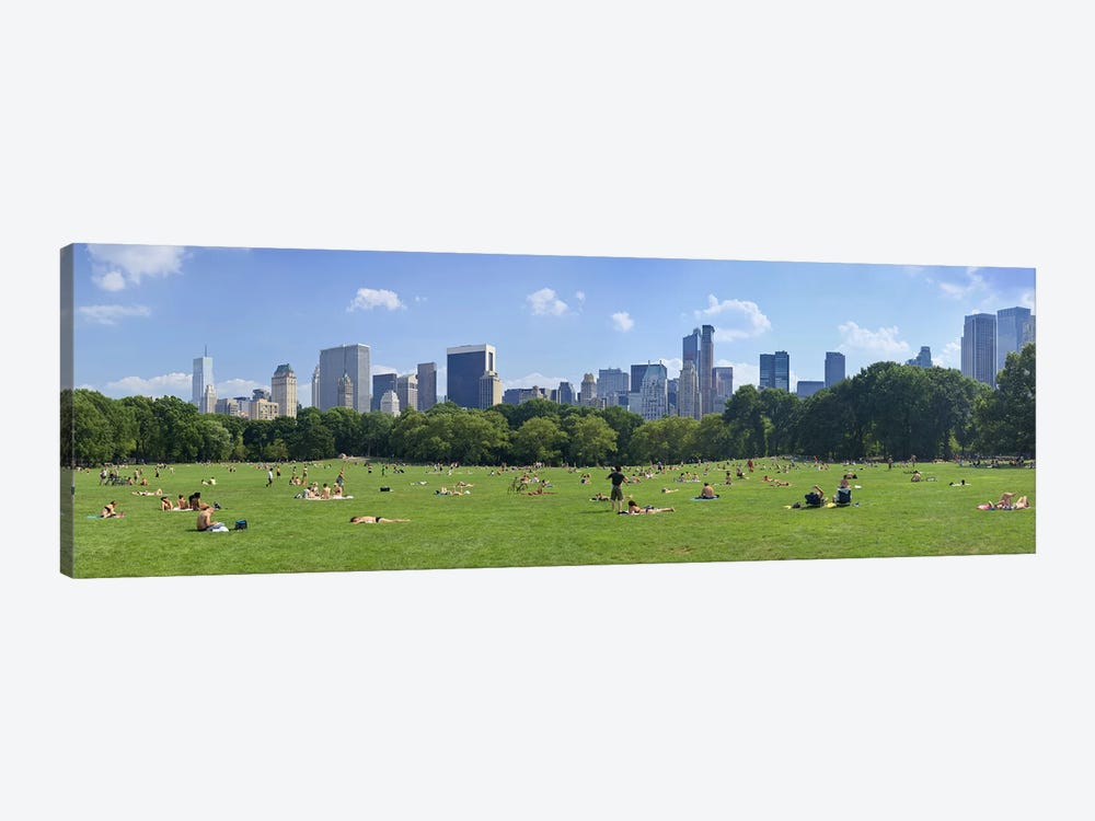 Tourists resting in a parkSheep Meadow, Central Park, Manhattan, New York City, New York State, USA by Panoramic Images 1-piece Canvas Artwork
