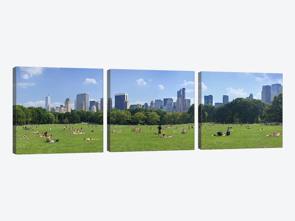 Tourists resting in a parkSheep Meadow, Central Park, Manhattan, New York City, New York State, USA by Panoramic Images 3-piece Canvas Wall Art