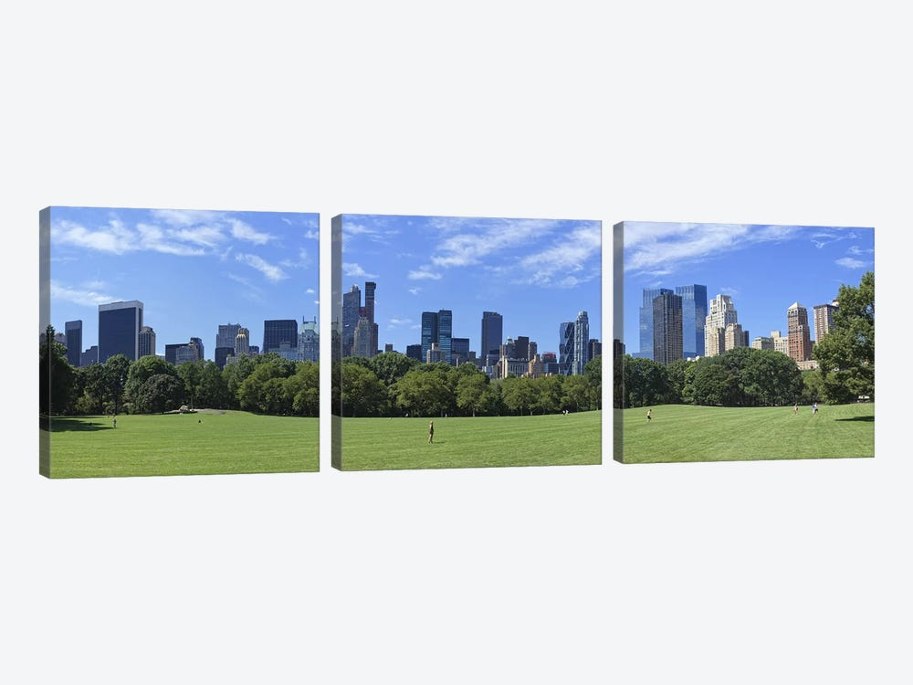 Park with skyscrapers in the backgroundSheep Meadow, Central Park, Manhattan, New York City, New York State, USA by Panoramic Images 3-piece Canvas Print