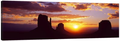 Silhouette of buttes at sunsetMonument Valley, Utah, USA Canvas Print #PIM9029