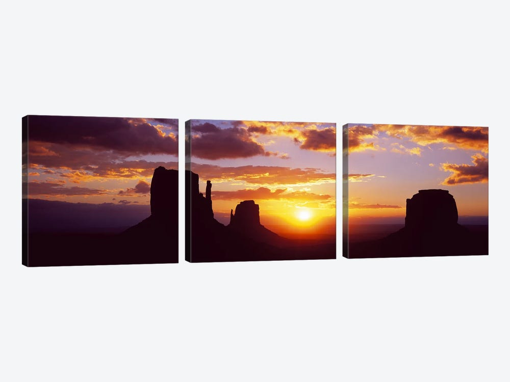 Silhouette of buttes at sunsetMonument Valley, Utah, USA by Panoramic Images 3-piece Canvas Art