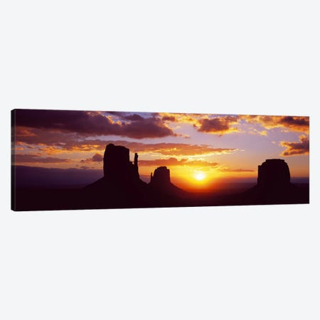 Silhouette of buttes at sunsetMonument Valley, Utah, USA Canvas Print #PIM9029} by Panoramic Images Canvas Wall Art
