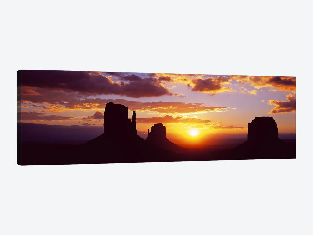 Silhouette of buttes at sunsetMonument Valley, Utah, USA by Panoramic Images 1-piece Canvas Art