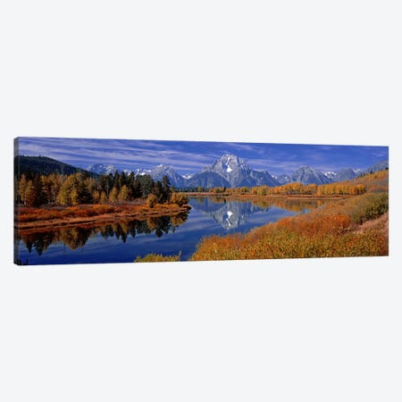 Autumn Landscape Featuring Mount Moran, Oxbow Bend Of Snake River, Grand Teton National Park, Wyoming, USA Canvas Print #PIM9036} by Panoramic Images Canvas Wall Art