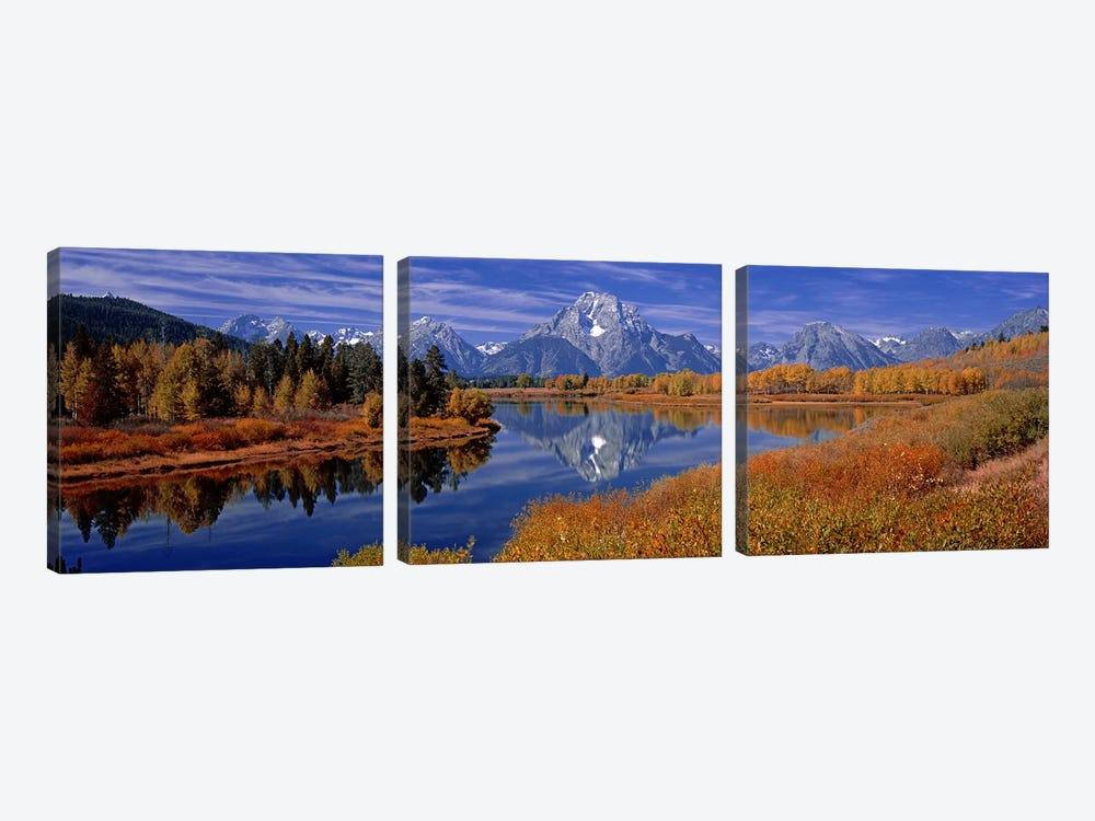Autumn Landscape Featuring Mount Moran, Oxbow Bend Of Snake River, Grand Teton National Park, Wyoming, USA by Panoramic Images 3-piece Canvas Artwork