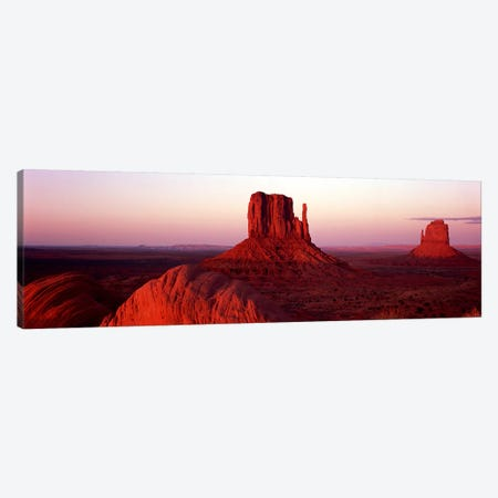 Red Dusk Over The Mittens (East and West Mitten), Monument Valley, Navajo Nation Canvas Print #PIM9037} by Panoramic Images Canvas Artwork