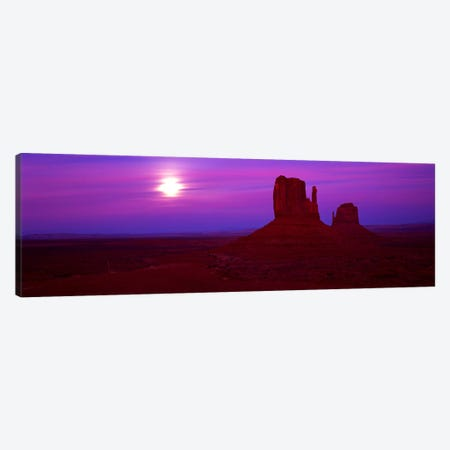 East Mitten and West Mitten buttes at sunset, Monument Valley, Utah, USA Canvas Print #PIM9038} by Panoramic Images Art Print