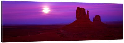 East Mitten and West Mitten buttes at sunset, Monument Valley, Utah, USA Canvas Print #PIM9038