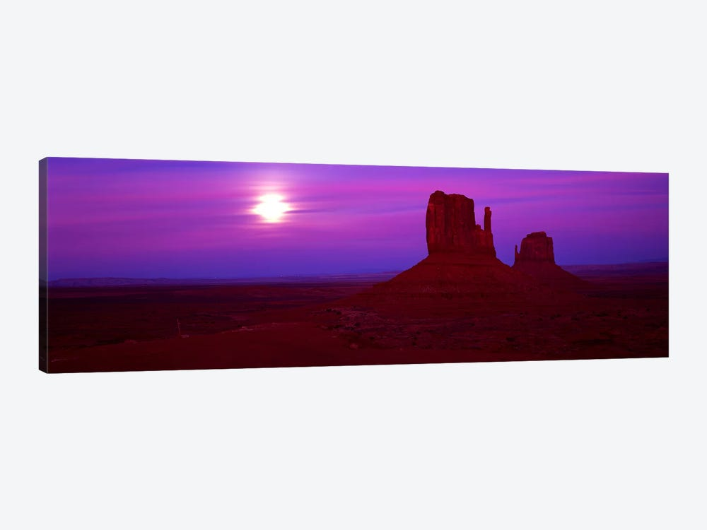 East Mitten and West Mitten buttes at sunset, Monument Valley, Utah, USA by Panoramic Images 1-piece Canvas Artwork