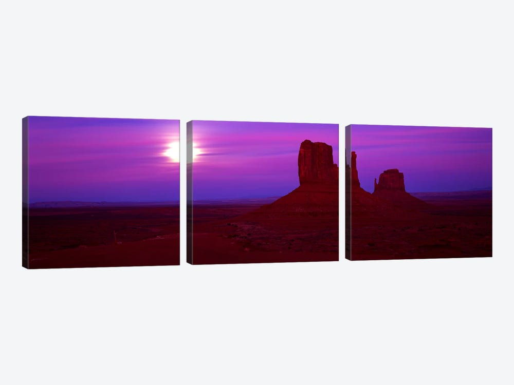 East Mitten and West Mitten buttes at sunset, Monument Valley, Utah, USA by Panoramic Images 3-piece Canvas Art