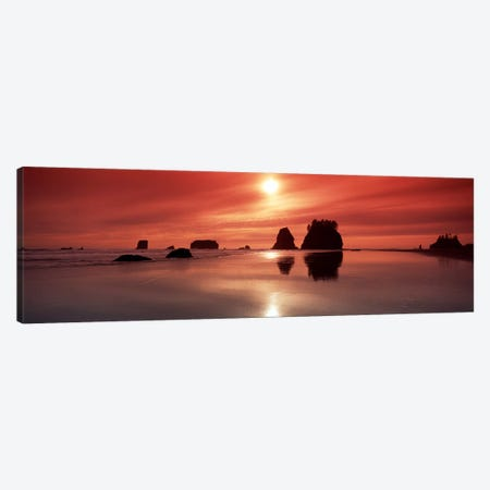 Silhouette of sea stacks at sunsetSecond Beach, Olympic National Park, Washington State, USA Canvas Print #PIM9041} by Panoramic Images Canvas Art
