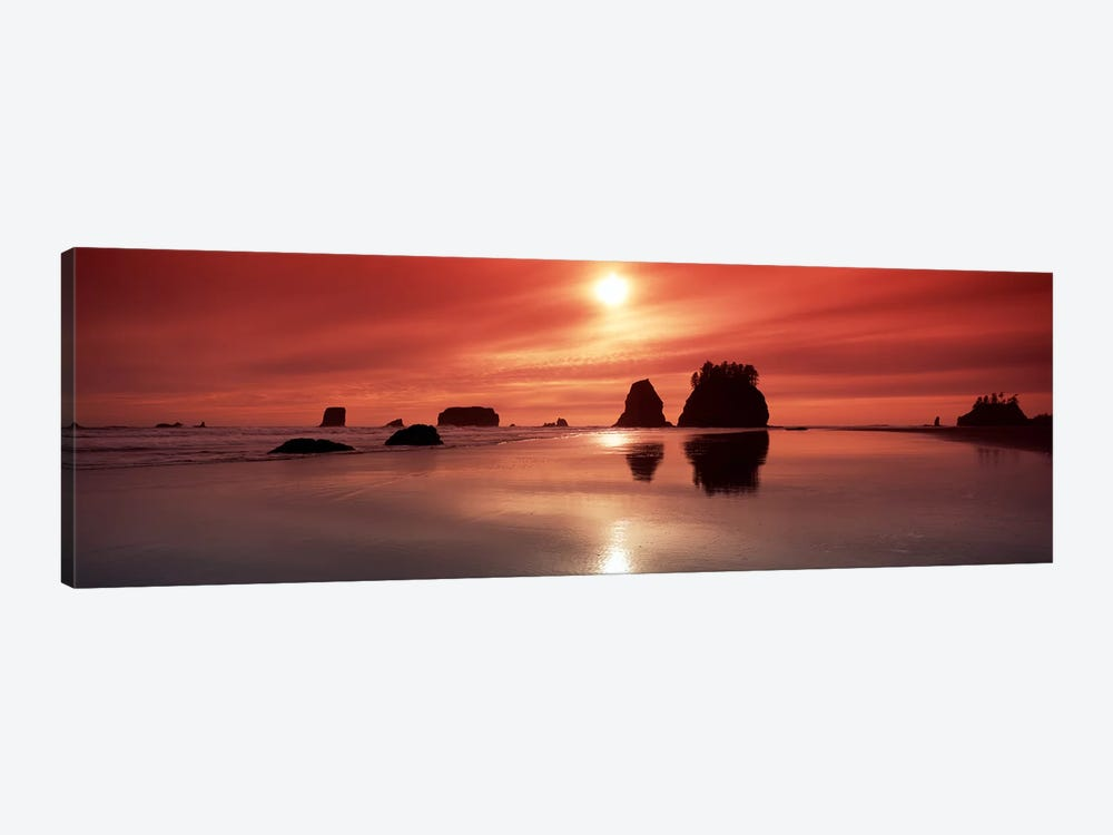 Silhouette of sea stacks at sunsetSecond Beach, Olympic National Park, Washington State, USA by Panoramic Images 1-piece Canvas Artwork