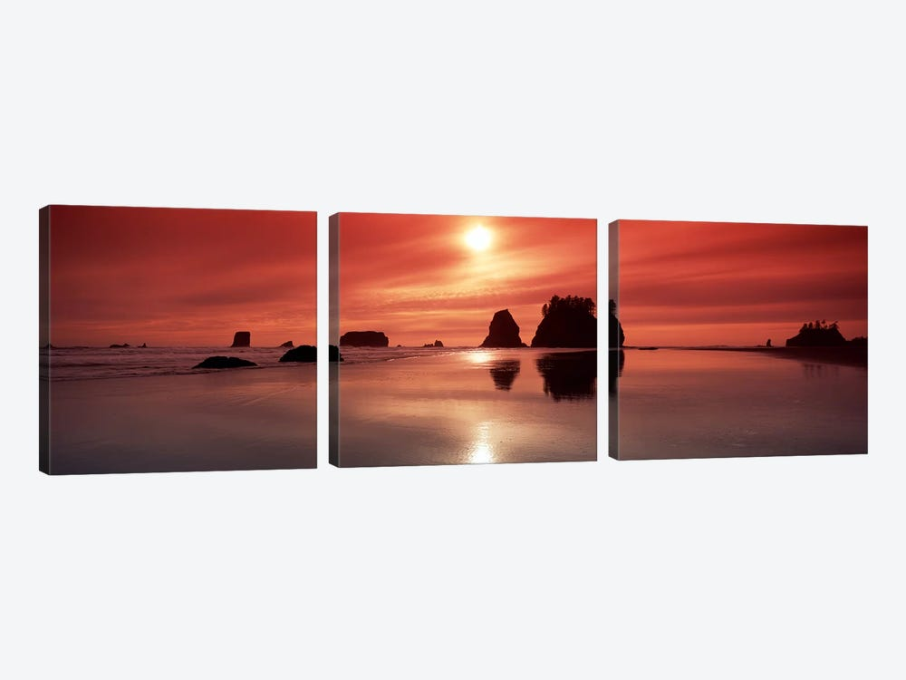 Silhouette of sea stacks at sunsetSecond Beach, Olympic National Park, Washington State, USA by Panoramic Images 3-piece Canvas Art