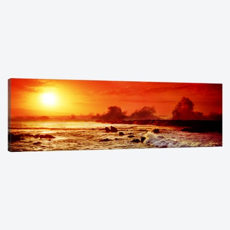 Waves breaking on rocks in the oceanThree Tables, North Shore, Oahu, Hawaii, USA Canvas Print #PIM9044} by Panoramic Images Canvas Art Print