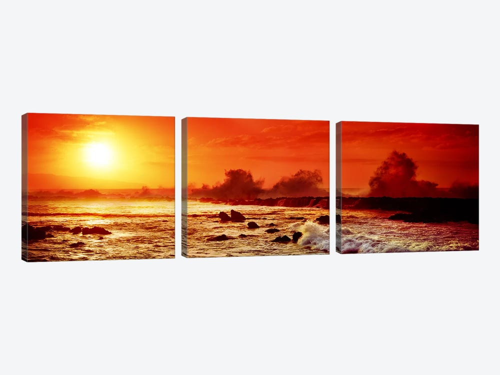 Waves breaking on rocks in the oceanThree Tables, North Shore, Oahu, Hawaii, USA by Panoramic Images 3-piece Canvas Print