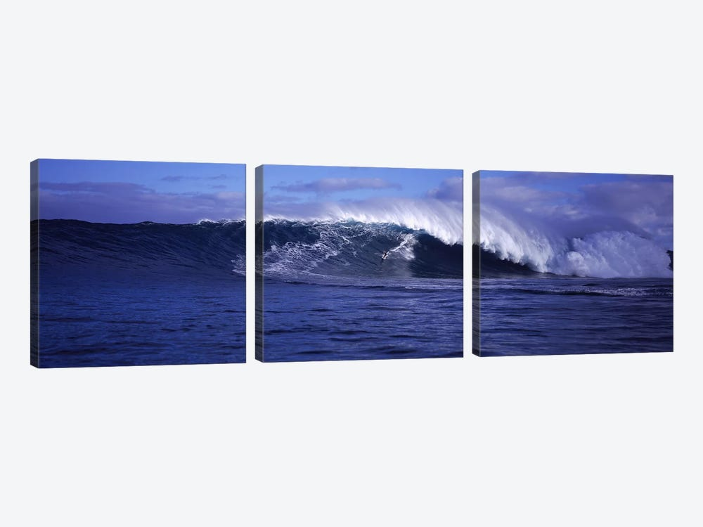 Surfer in the oceanMaui, Hawaii, USA by Panoramic Images 3-piece Canvas Wall Art