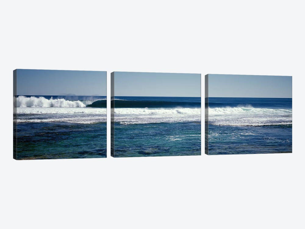 Wave splashing in the sea by Panoramic Images 3-piece Canvas Art