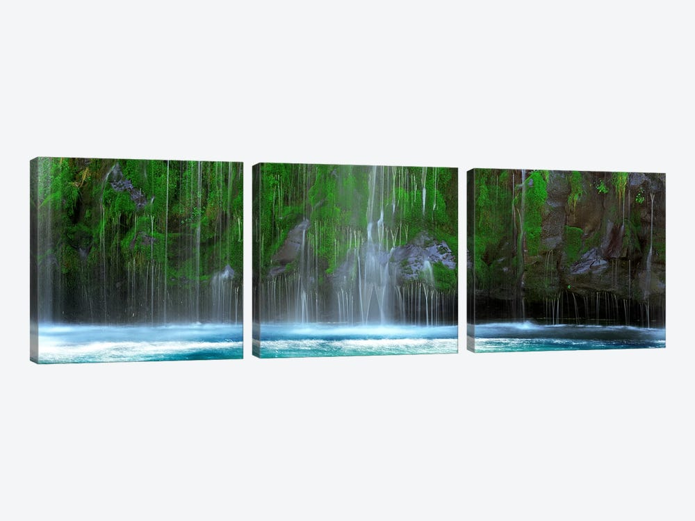 Waterfall in a forestMossbrae Falls, Sacramento River, Dunsmuir, Siskiyou County, California, USA by Panoramic Images 3-piece Canvas Wall Art