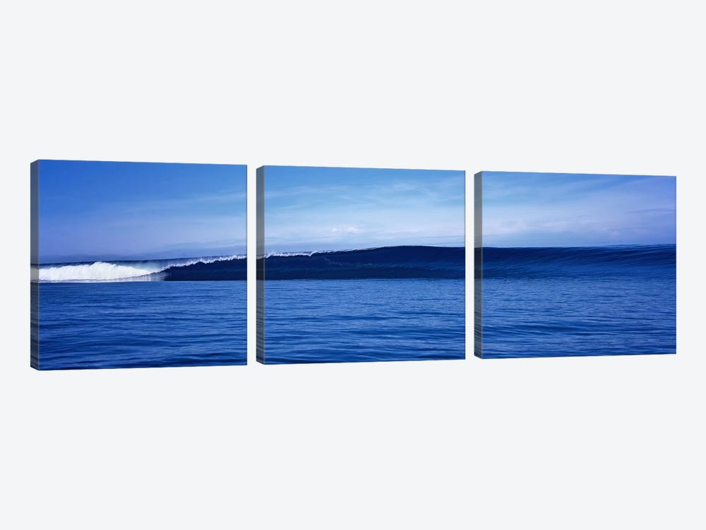 Waves splashing in the sea by Panoramic Images 3-piece Canvas Wall Art