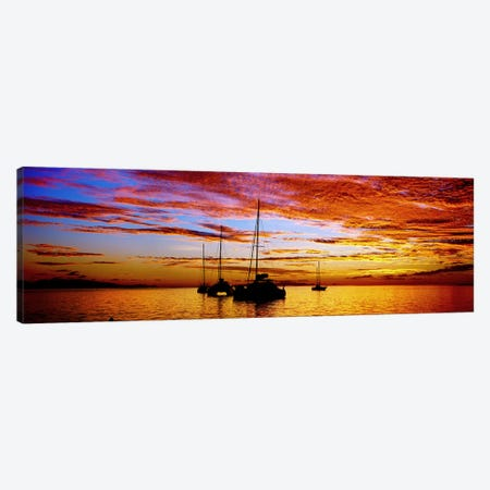 Silhouette of sailboats in the ocean at sunset, Tahiti, Society Islands, French Polynesia Canvas Print #PIM9062} by Panoramic Images Canvas Art