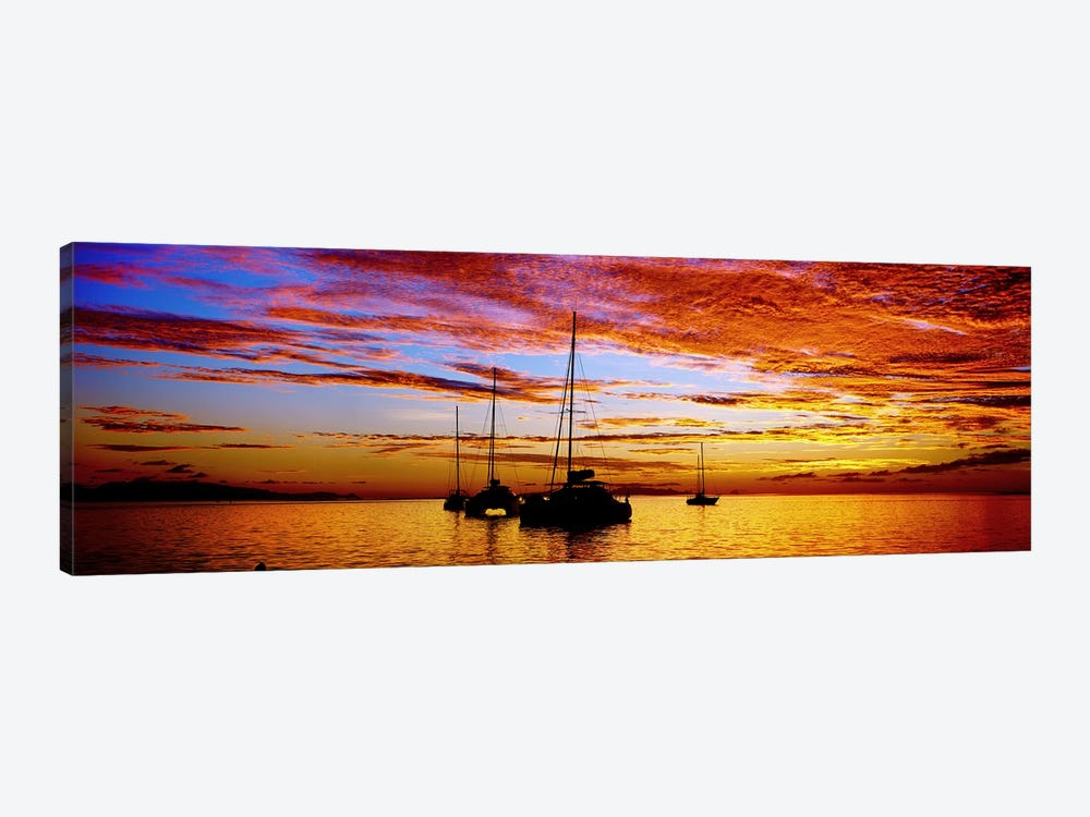 Silhouette of sailboats in the ocean at sunset, Tahiti, Society Islands, French Polynesia by Panoramic Images 1-piece Canvas Print