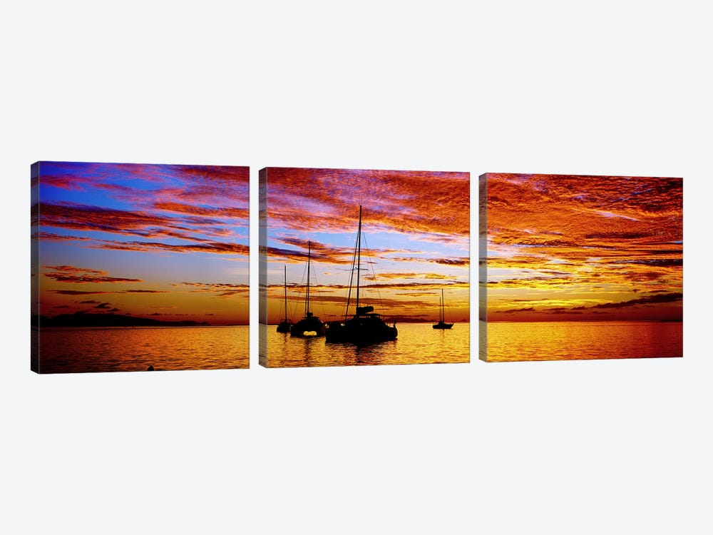 Silhouette of sailboats in the ocean at sunset, Tahiti, Society Islands, French Polynesia by Panoramic Images 3-piece Canvas Art Print