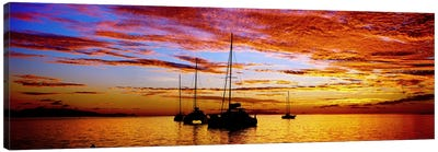 Silhouette of sailboats in the ocean at sunset, Tahiti, Society Islands, French Polynesia Canvas Art Print