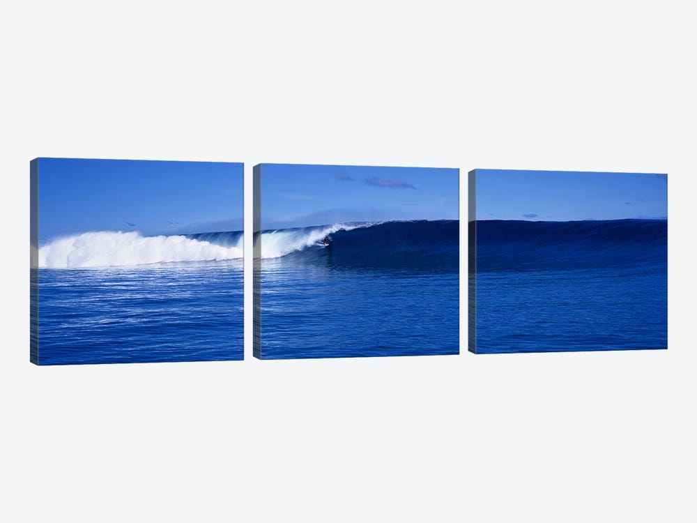 Waves splashing in the sea by Panoramic Images 3-piece Canvas Artwork