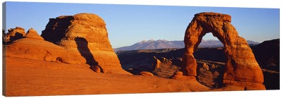 Natural arch in a desertDelicate Arch, Arches National Park, Utah, USA Canvas Art Print