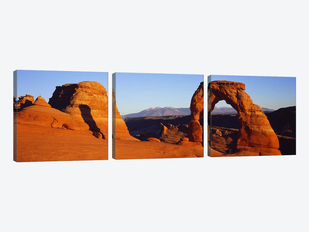 Natural arch in a desertDelicate Arch, Arches National Park, Utah, USA by Panoramic Images 3-piece Art Print