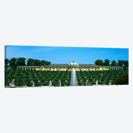 Formal garden in front of a palace, Sanssouci Palace, Potsdam, Brandenburg, Germany Canvas Print #PIM906} by Panoramic Images Canvas Wall Art