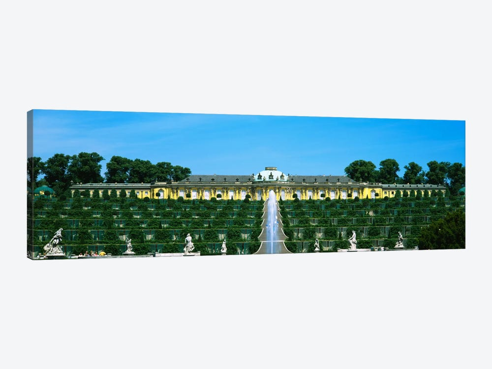 Formal garden in front of a palace, Sanssouci Palace, Potsdam, Brandenburg, Germany by Panoramic Images 1-piece Canvas Wall Art