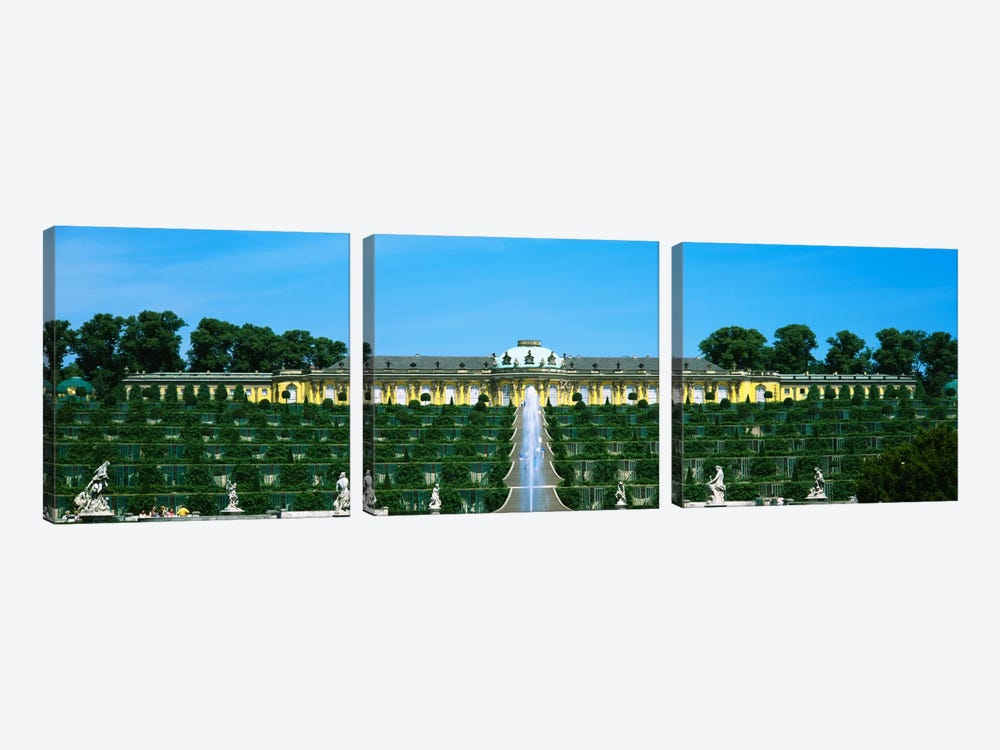 Formal garden in front of a palace, Sanssouci Palace, Potsdam, Brandenburg, Germany by Panoramic Images 3-piece Canvas Art