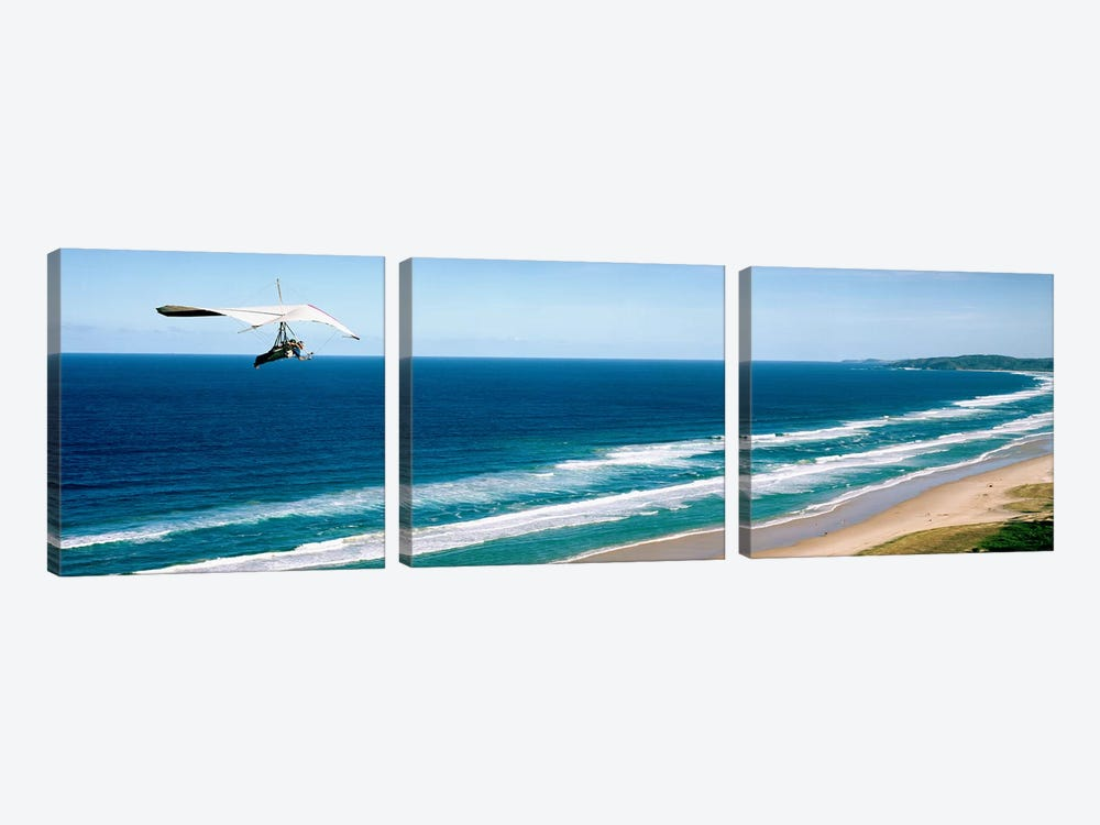 Hang glider over the sea by Panoramic Images 3-piece Canvas Artwork
