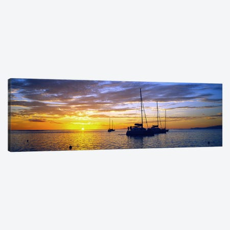 Cloudy Ocean Sunset With Anchored Sailboats, Tahiti, Windward Islands, Society Islands, French Polynesia Canvas Print #PIM9079} by Panoramic Images Art Print