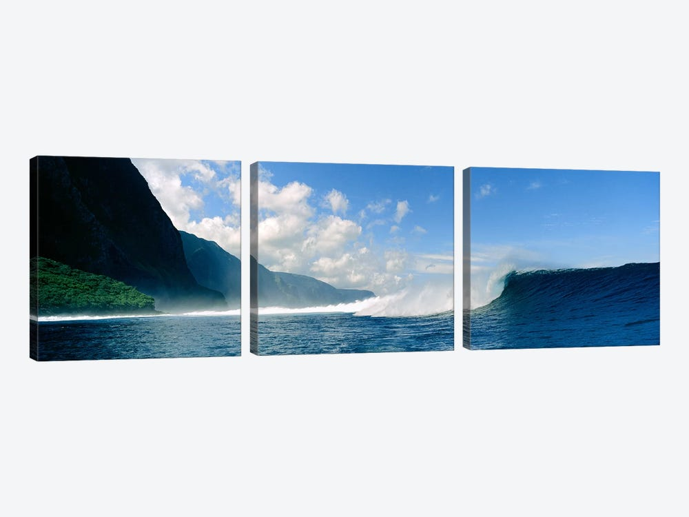 Waves in the sea by Panoramic Images 3-piece Canvas Art Print
