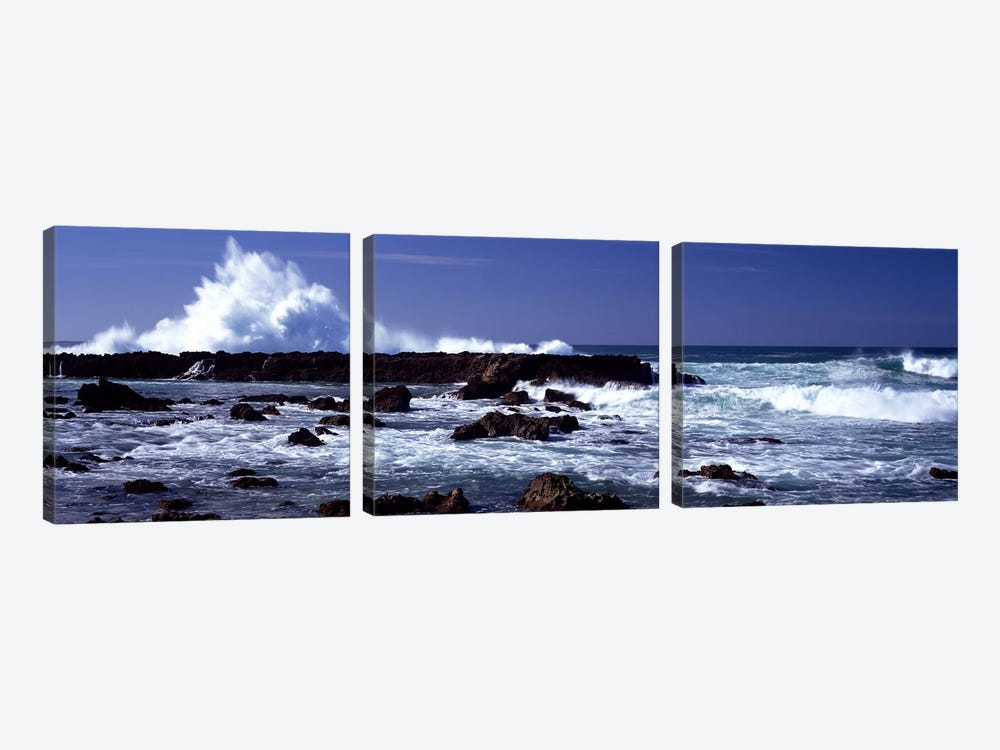 Waves breaking on the coast by Panoramic Images 3-piece Canvas Artwork