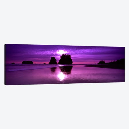Silhouette of sea stacks at sunset, Second Beach, Olympic National Park, Washington State, USA Canvas Print #PIM9084} by Panoramic Images Canvas Print