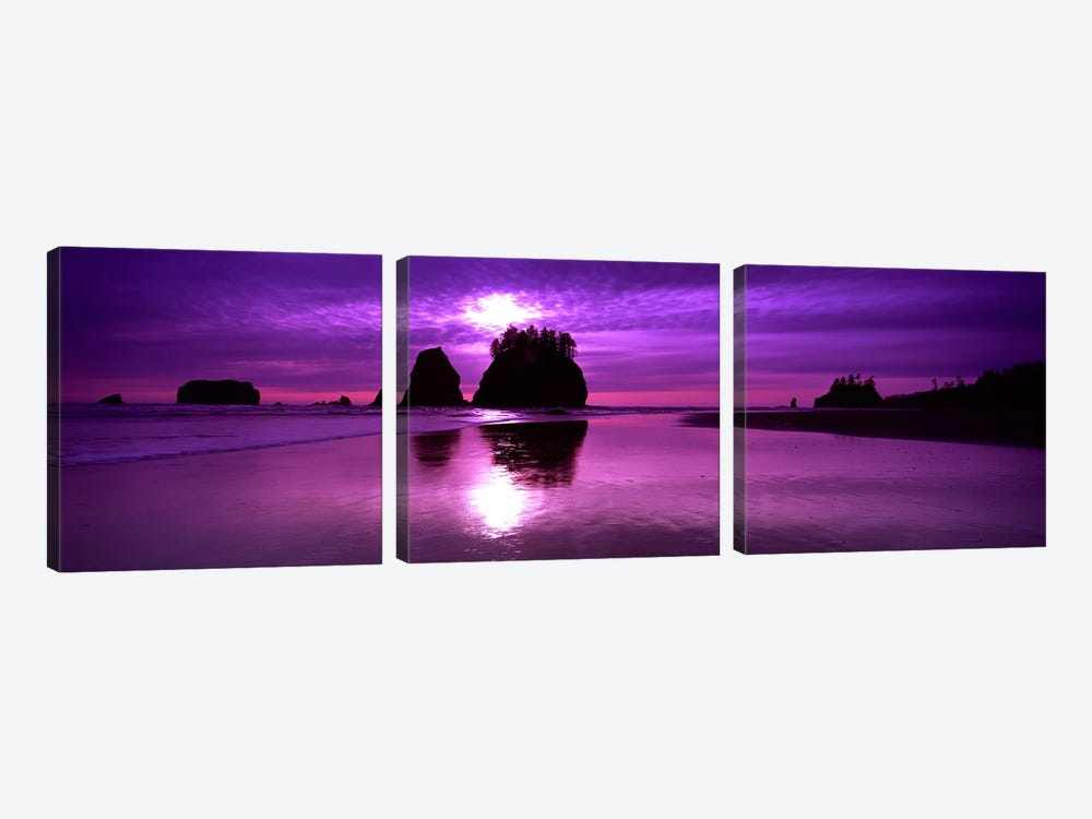 Silhouette of sea stacks at sunset, Second Beach, Olympic National Park, Washington State, USA by Panoramic Images 3-piece Art Print