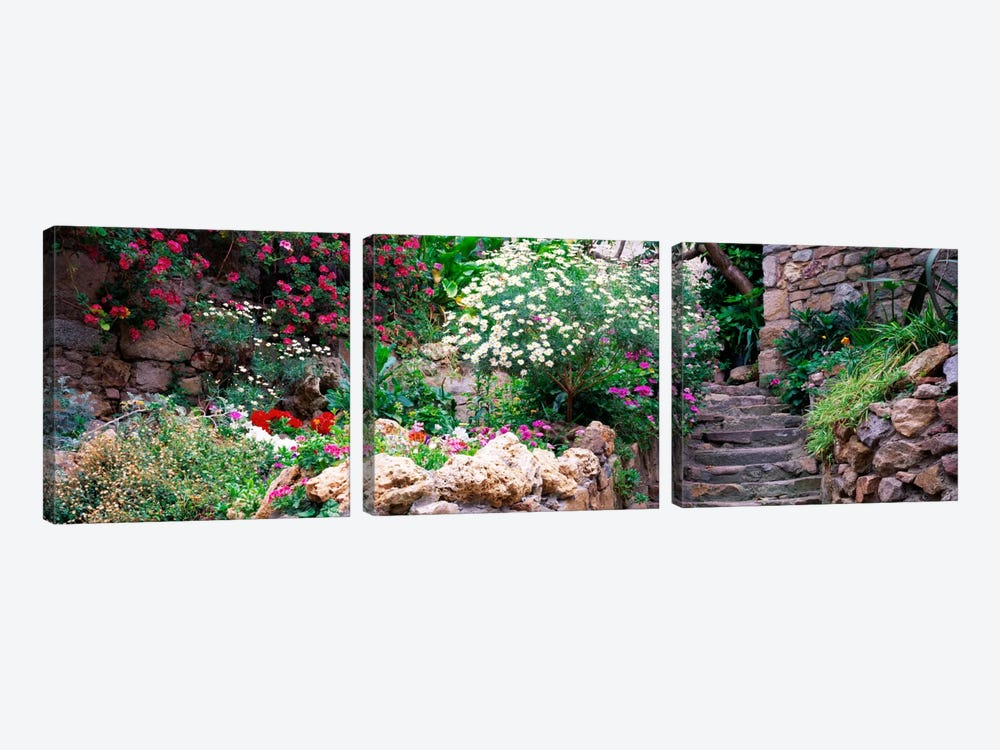 Beautiful Old Town Garden, Tossa de Mar, Costa Brava, Catalonia, Spain by Panoramic Images 3-piece Canvas Artwork