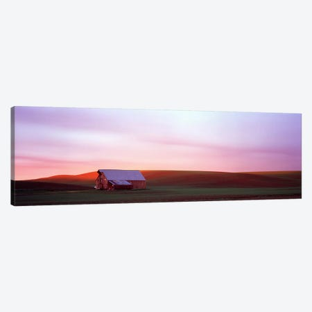 Barn in a field at sunset, Palouse, Whitman County, Washington State, USA #3 Canvas Print #PIM9091} by Panoramic Images Art Print