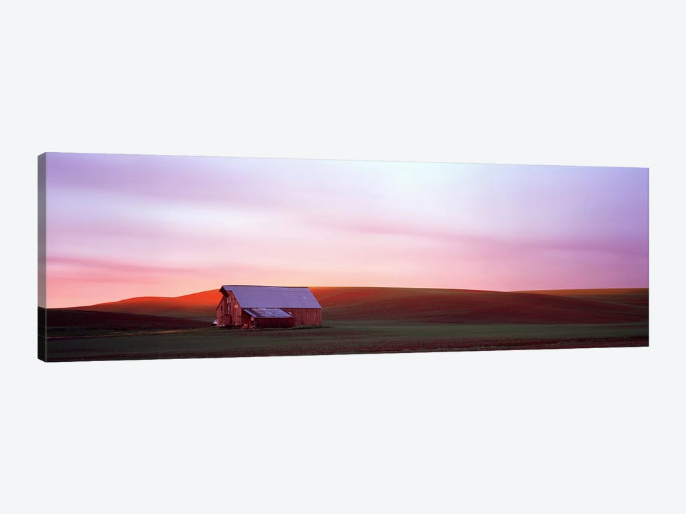 Barn in a field at sunset, Palouse, Whitman County, Washington State, USA #3 by Panoramic Images 1-piece Art Print