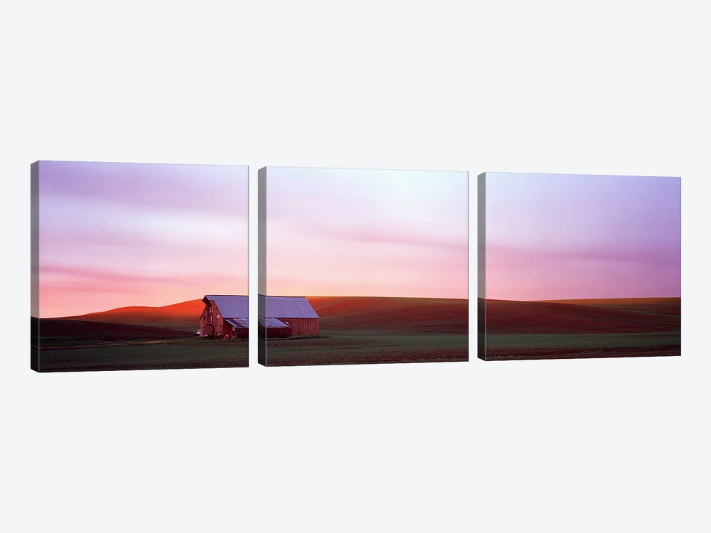 Barn in a field at sunset, Palouse, Whitman County, Washington State, USA #3 by Panoramic Images 3-piece Canvas Print