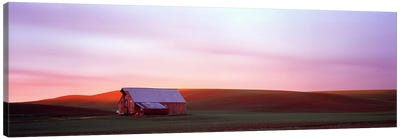Barn in a field at sunset, Palouse, Whitman County, Washington State, USA #3 Canvas Art Print