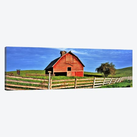 Old barn with fence in a field, Palouse, Whitman County, Washington State, USA Canvas Print #PIM9097} by Panoramic Images Canvas Art