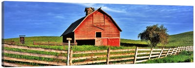 Old barn with fence in a field, Palouse, Whitman County, Washington State, USA Canvas Print #PIM9097