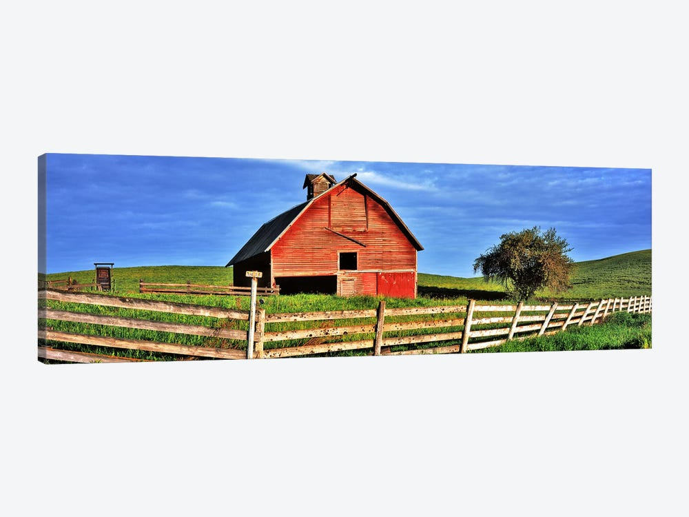 Old barn with fence in a field, Palouse, Whitman County, Washington State, USA 1-piece Canvas Print