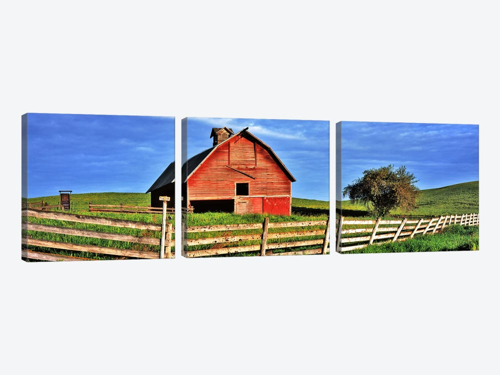 Old barn with fence in a field, Palouse, Whitman County, Washington State, USA 3-piece Canvas Print