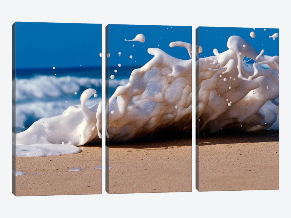 Foam splashing on the beach by Panoramic Images 3-piece Canvas Art Print