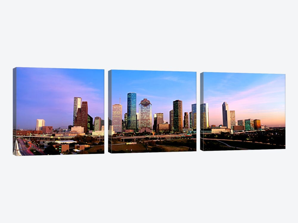 USATexas, Houston, twilight by Panoramic Images 3-piece Art Print